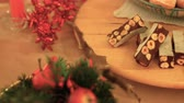 kuru üzüm : Overview on Warmth Christmas table with pastries and cakes and cookies with hazelnuts, chocolate, dried raisins k49 SF