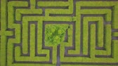 rychlý : Aerial view of maze, green labyrinth in park, drone point of view from above.