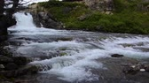 gletsjer : Cascading Swiftcurrent Falls in Glacier National Park. Met audio. Camera vergrendeld. Stockvideo