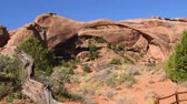 oblouk : Landscape Arch at Arches National Park, Utah. Camera handheld, panning lower left to upper right.