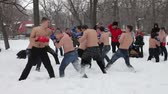 Fighters of fisticuffs at the festival of Maslenitsa in Russia