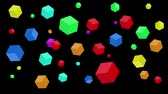 Multicolored cubes are moving on a black background