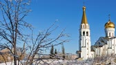 tower : Russian orthodox church of St. Tatiana in Samara, Russia. Winter Stock Footage