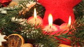 otthonos : decorative christmas tray with candles, fir branches and nuts