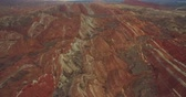 Aerial above view of colorful Danxia rock formations of The Zhangye National Geopark in Gansu province of China, 4k drone nature landscape footage