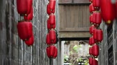 chinese art : Red lanterns in Jinli Chengdu city of Sichuan China, Chinese New Year decorations, Chinese Asia culture footages