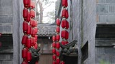 Red lanterns hanging on Jinli traditional Chinese building wall Chengdu city of Sichuan China, Chinese New Year decorations, Chinese Asia culture Wideo