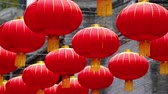 chengdu : Close up of red Chinese lantern hanging in Jin li street , traditional asian China culture decoration for spring festival. asian or China traditional culture footage. Stock Footage