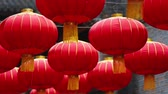 Close up of red Chinese lantern hanging in Jin li street , traditional asian China culture decoration for spring festival. asian or China traditional culture footage. Wideo
