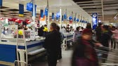 Chengdu SichuanChina-January 13 2019: time lapse of crowd people shopping Checkout in IKEA shopping mall at Chengdu China. very busy market. Chinese people daily economic activities footage Wideo