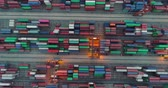 boşaltma : aerial above view of the container port in Shenzhen China in the evening. 4k drone footage of global trade and logistics.