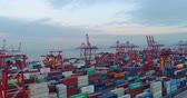 aerial view of the container port in Shenzhen China in the evening. 4k drone footage of global trade and logistics.
