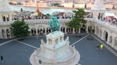 budapeste : Aerial view at St. Stephen Statue at Fisherman Bastion in Budapest, Hungary