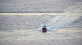 luxus : Top view of the pilot boat in the sea. Speed boat with the waves behind