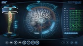 information : Futuristic brain scan. Holographic medical application interface.