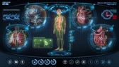 futuristic : Futuristic human anatomy scan. Holographic medical application interface. Seamless loop.