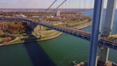 adversidade : Runners of the New York City Marathon Crossing  Verrazano Bridge from NYPD Helicopter 4K