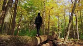 Teenager Walking On Log Slow Motion 4K