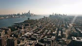 Unique Aerial Dual View of Downtown Manhattan and Downtown Jersey City 4K