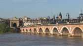 gironde : Bordeaux Stone bridge Stock Footage