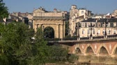 gironde : Bordeaux old stone bridge Stock Footage