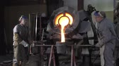 plaster : Lost wax bronze casting in a foundry Stock Footage