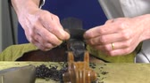 substituição : a luthier replaces the touch of a cello Stock Footage
