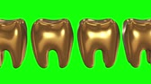 White tooth in a row of the gold teeth. 3D render. Dental, out of crowd, business concept. Video available in FullHD and HD render footage Filmati Stock