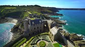 brittany : Editorial: September 19, 2017. Brittany, France. Old medieval french castle Fort la Latte panoramic aerial view, coastline in Brittany Stock Footage