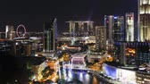 night time : elevated view over the entertainment district of clarke quay the singapore