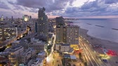 поднятый : illuminated elevated day to night view of beachfront hotels tel aviv israel