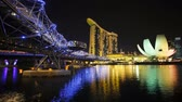 próspero : Night view of the illuminated Helix Bridge and Marina Bay Sands, Singapore
