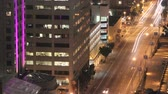 через : pan across downtown street traffic night