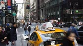 chrysler building : Taxis and street scene at intersection near Grand Central Station Manhattan Stock Footage