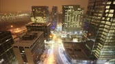 фонарный столб : Time lapse traffic in snowy city