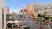lined up : Time lapse traffic patterns on Las Vegas strip Stock Footage
