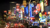 las vegas strip : Traffic and neon signs on the Vegas strip Stock Footage