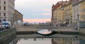 Scenic view of the Canal Grande in Trieste, Italy at sunset.