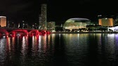 fullerton : Singapore at night: view to Esplanade drive bridge from Merlion.