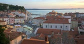 Picturesque old town Piran - beautiful Slovenian adriatic coast. Aerial view of Tartini Square.