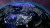 satelite : Earth from Space Lightstreaks over USA view from outer space Satellite point of view Wideo
