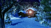 house : Christmas Snowy Scene 3D animation Dolly Motion Stock Footage