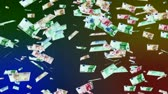 Euro banknotes falling animation.Money rain.Created from real banknotes.  You can replace the black background with your custom footage :  - make the clip black and white  - use curves or levels to white out the banknotes - use this matte as luma key to m