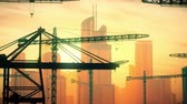 liman bölgesi : 4K Huge Construction Cranes in Industrial Zone in Sunset Sunrise 3D Animation