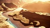 hiba : Aerial Shot of a Rocky Canyon and a Lake 3D Animation 5 stylized