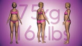 4K Simulation of a Fat Woman Losing Body Weight and BMI Index 3D Animation on a Purple Background Vídeos