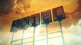 frayed : 4K Old Grungy Motel Sign On the Road in a Wonderful Sunset 3D Animation