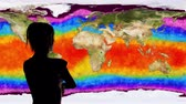 augmentation : 4K Woman Watching Earth Water Surface Global Warming Simulation
