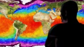augmentation : Man Watching Earth Water Surface Global Warming Simulation Cinematic Camera M