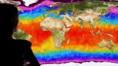 augmentation : Woman Watching Earth Water Surface Global Warming Simulation Cinematic Camera